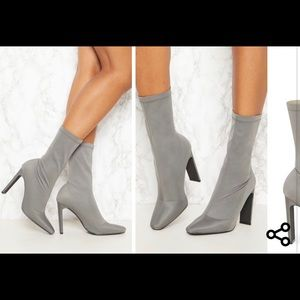 🧡 Charcoal Blue Lycra Flat Heel Ankle Boot